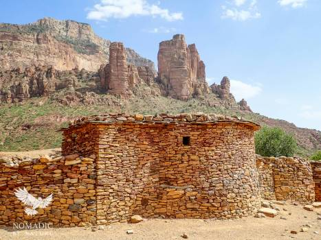 A View of the Sandstone Pinnacles that House Abuna Yemata from the Village Below, Ethiopia