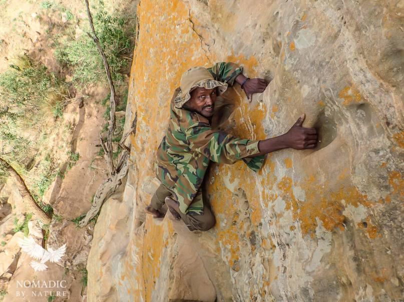 Free Climbing to the Abuna Yemata Monestary, Ethiopia