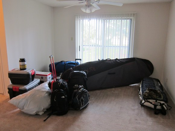 Everything we own sitting in our empty apartment.