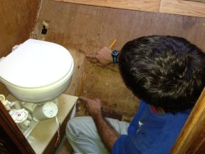 Showing the original height of the toilet.