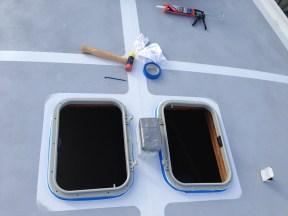 Installing the frames.