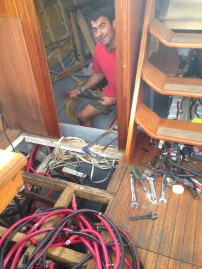 Lots of cables and mess still in the aft section.