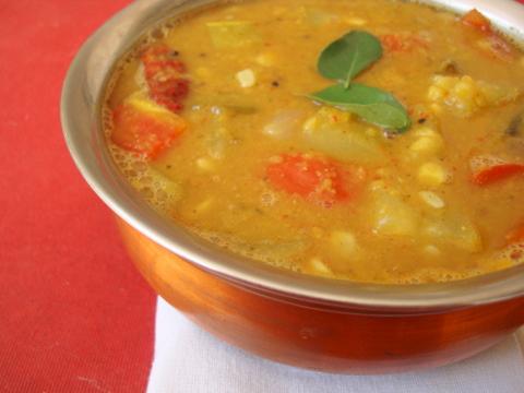 Freshly made sambar