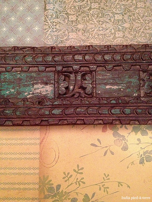 Carved Wood from India and Scrapbook Papers