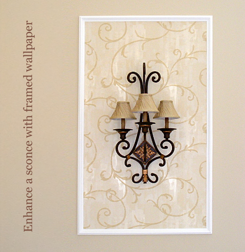Framed Wallpaper Around a Sconce
