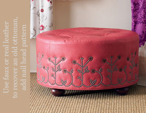 Nail Head Trim Ottoman from Neiman Marcus
