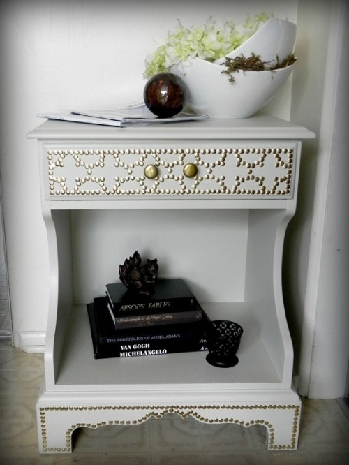 Nailhead Side Table by Mad in Crafts