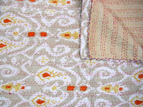 Ikat Kantha Quilt from Indian Mall Shop on Etsy