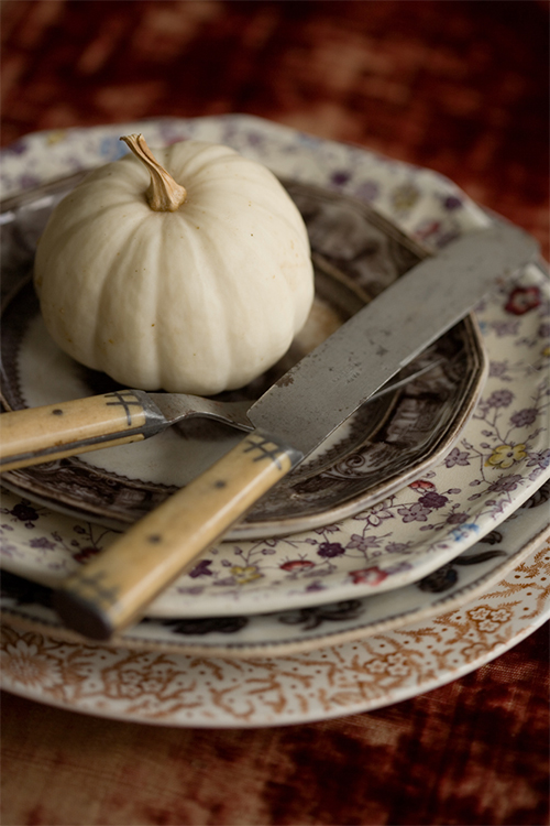 White Pumpkin on Patterned Plates by Sweet Paul