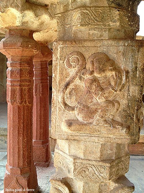 Monkey Carving in Column in Carved Column in Nandi Hills Bhoga Nandeeshwara Temple