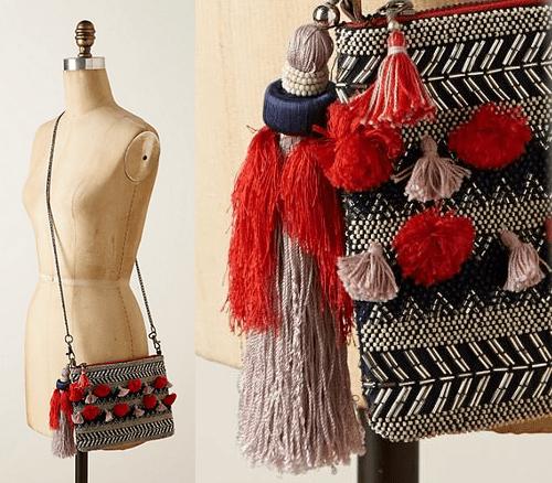 Anthro Samirah Tassel Handbag