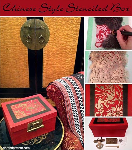 Chinese Style Box with Stenciled Dragon