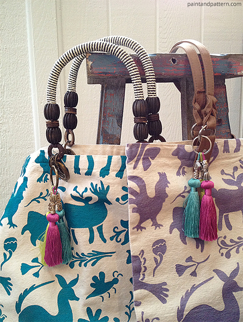 Stenciled DIY Otomi Tote Bags via Paint and Pattern