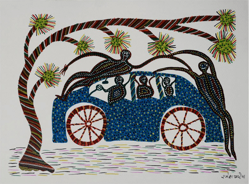 Car-Men Bhil Painting By Ramesh Bariya