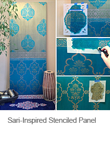 DIY Sari-Inspired Stenciled Door Panel