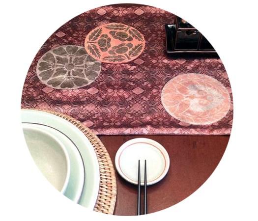 Stenciled Obi Style Table Runner