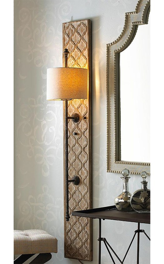 Shades of Light Vertical Embossed Wood Sconce