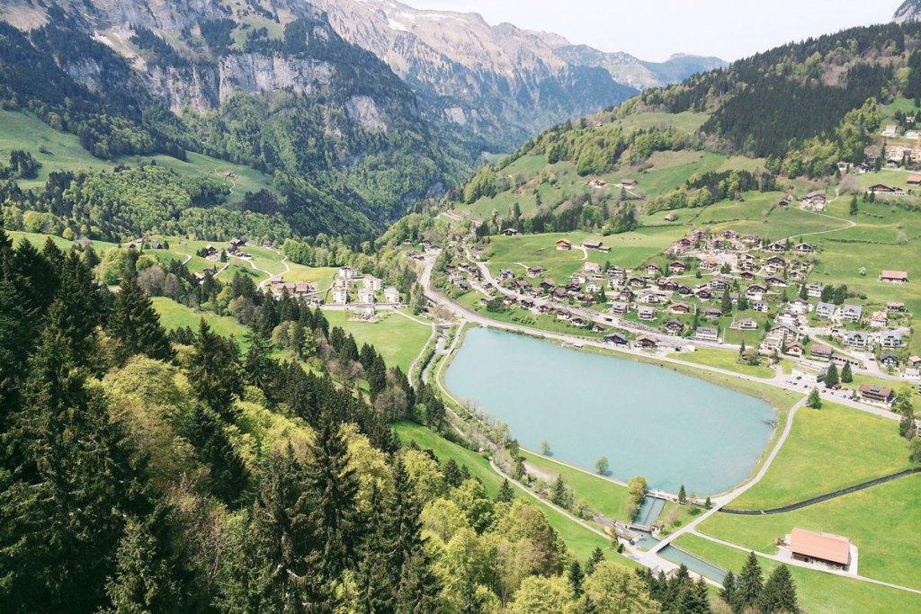 Switzerland view up to Mount Titlis