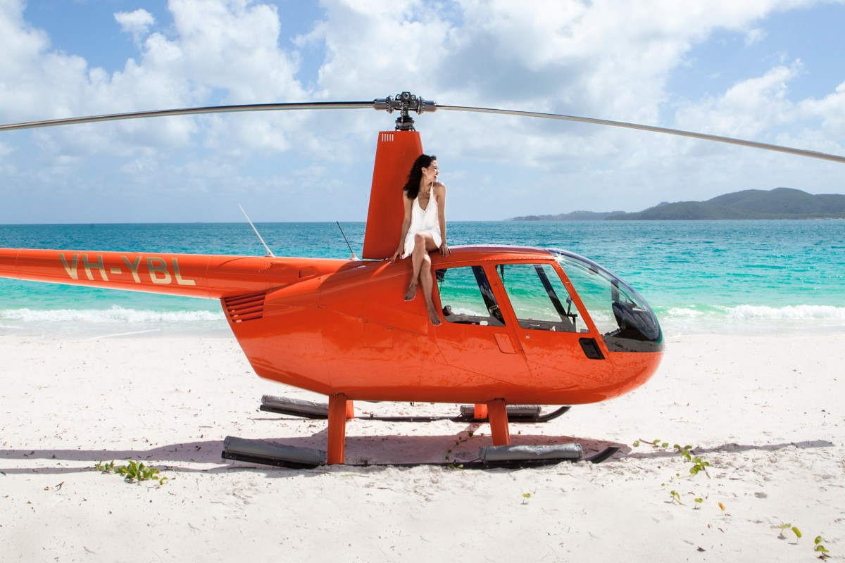 Helicopter ride in Whitehaven Beach in the Whitsundays, Australia