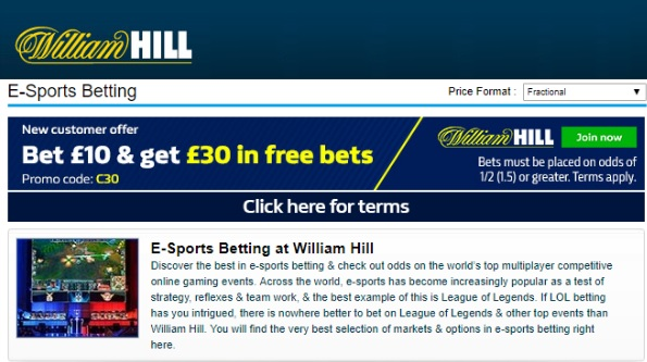 Check out William Hill's latest e-sport matches