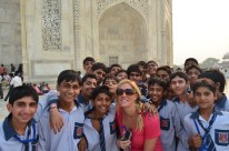 Jess and a sea of lucky young boys.