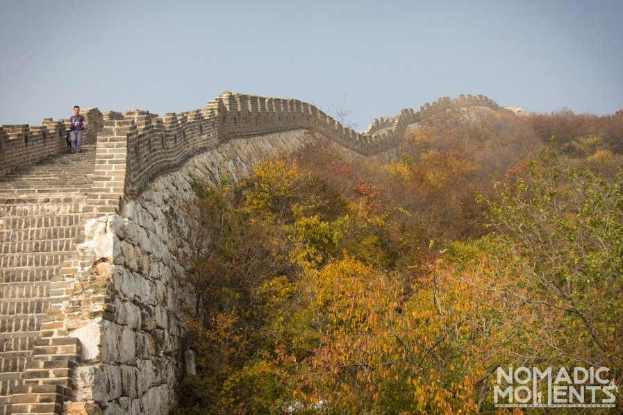 Autumn in the Mutianyu section of the Great Wall of China.
