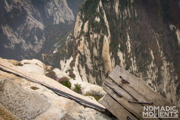 Where the Huashan Plank Walk meets the steps carved in stone.