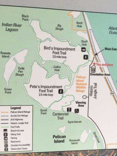 The Pelican Island National Wildlife Refuge hiking map.