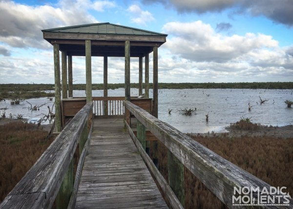 Raised platform overlooking a lagoon on the Pete's Impoundment Foot Trail.