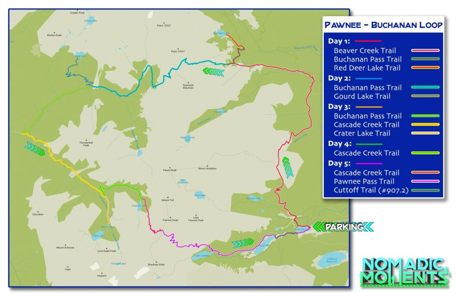 Buchanan & Pawnee Pass Loop Map