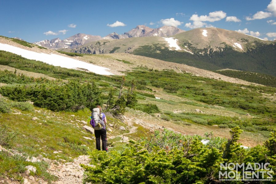 Backpacker descend Mount Audobon on the Beaver Creek trail