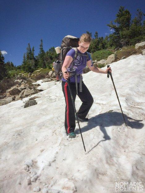 Traversing the snow on Mount Audobon