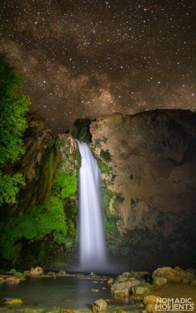 The Milky Way above Havasu Falls and the Havasupai Campground