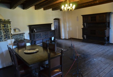 Dining room at Bran Castle in Bran, Romania