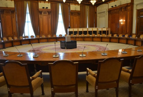 Meeting room at Palace of Parliament in Bucharest, Romania