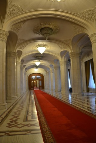 Corridor at Palace of Parliament in Bucharest, Romania