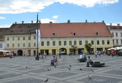 Hecht House (left) and General's House (right) in Sibiu, Romania