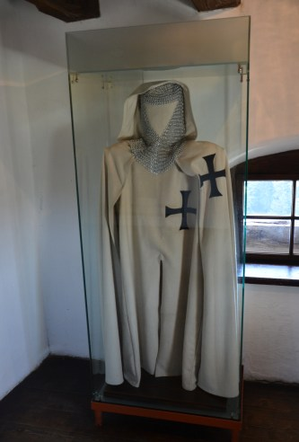 Teutonic knight costume at Bran Castle in Bran, Romania