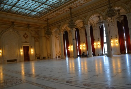 Unification Hall at Palace of Parliament in Bucharest, Romania