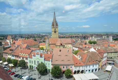 View of Piața Huet from Turnul Sfatului in Sibiu, Romania