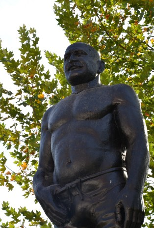 Monument to wrestlers at the Kırkpınar Wrestling Complex in Edirne, Turkey