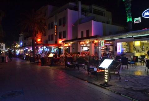 Restaurants across from the beach on Cumhuriyet Caddesi in Bodrum, Turkey