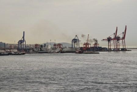 View of Haydarpaşa Limanı from Kız Kulesi in Üsküdar, Istanbul, Turkey