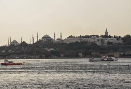 View of the historic city from Kız Kulesi in Üsküdar, Istanbul, Turkey