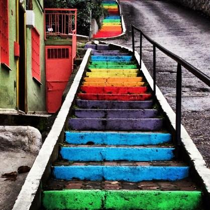 Rainbow stairs in Kuzguncuk, Istanbul, Turkey