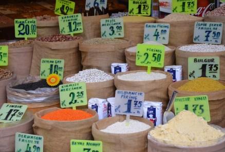Grains, rice, and spices in Üsküdar, Istanbul, Turkey