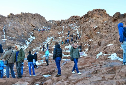 People making their way down the icy path on Mount Sinai, Egypt