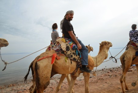 Me riding a camel on the beach at Abu Galom in Sinai, Egypt