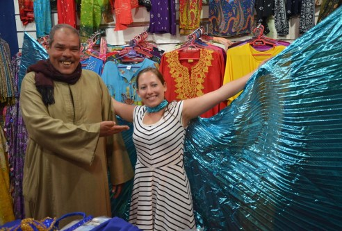 Tyra with her purchase at the souk in Sharm el-Sheikh, Egypt