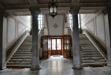 Grand staircase in Halki Seminary on Heybeliada, Princes' Islands, Istanbul, Turkey